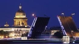 Дворцовый мост вПетербурге подсветили триколором РФвДень города— видео