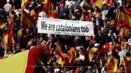 Видео: тысячи противников независимости Каталонии снова устроили протест