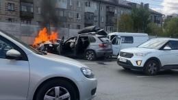 Машина вспыхнула после массовой аварии намосту вТюмени