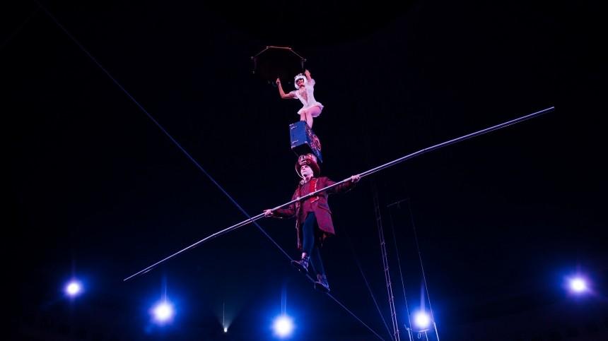 Три цирковых гимнаста сорвались сбольшой высоты вНовокузнецке— видео